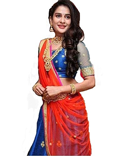 Jil Creation Women\'s lehenga Chaniya Ghagra Choli For Girls | Partywear Bridal Wedding Sangeet Ceremony festivals Funtions Ethnic and Traditional | Floral Net Work | Designer Latest | Blue and Red