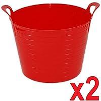 Srendi® 2 x RED 42 Litre Large Flexi Tub Garden Home Flexible Colour Rubber Storage Container Bucket Polyethylene Flex Tub - Made in U.K.