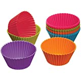 Kitchen Craft Colourworks Silicone Reusable Cupcake Cases, 7 cm - Pack of 12
