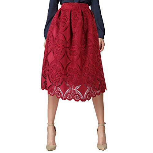 Uideazone Ladies Party Floral Lace Full Circle Cocktial Midi A Line Skirt (Womens Circle Rock)