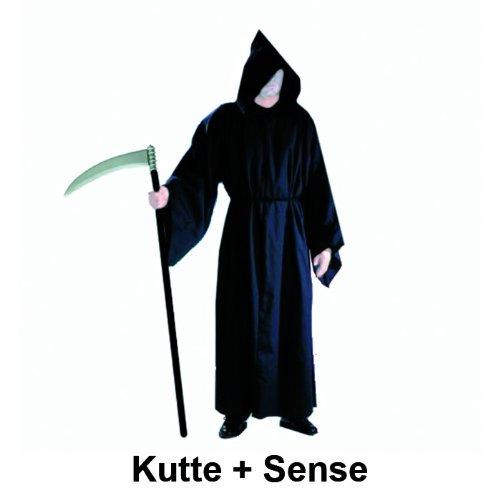 WOOOOZY Abraxus, KOSTÜM + Sense, Henker Tod Mönch Halloween Grusel Henkerskutte Sensenmann Sensemann