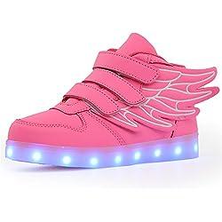 GreatParagon Paragon Niños Niñas Zapatillas LED Zapatos con Luces 7 Colores USB Carga Luces Luminosos Zapatos de Deporte Sneakers