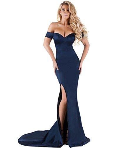Bodycon Ab-Schulter V-Ausschnitt Langes Meerjungfrau Abendkleid mit Schlitz für Damen Burgund