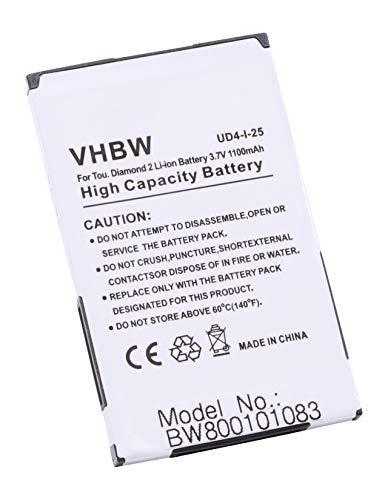 vhbw Li-Ion Akku 1100mAh (3.7V) für Handy, Telefon, Smartphone HTC Hero, Smart, Tatoo, Touch Diamond 2, T-Mobile MDA Compact 5 wie BA-S360, BA-S380. Htc Touch Diamond Mobile