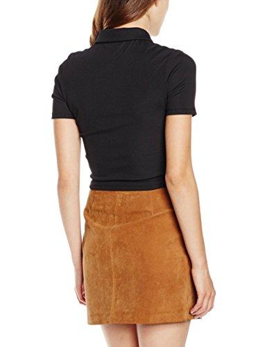 New Look Damen Top Zip Collar, Schwarz (Black)