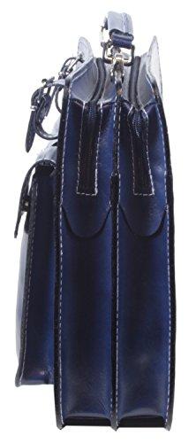 taschenTrend - Lascari elegante Aktentasche Business Bags Glattleder Aktenkoffer DIN-A4 Leder Taschen Damen Herren Umhängetaschen Messenger 12 - 15 Zoll UNISEX 29,5x39x9,5 cm (B x H x T) Dunkelblau
