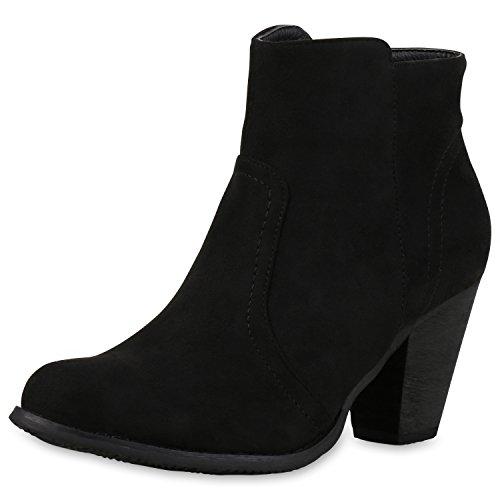Klassische Stiefeletten Damen Lederoptik Block Absatz Schuhe Schwarz