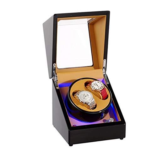WCX LED Automatische Uhrenbeweger 2 Uhren Drehende Hölzerne Selbstaufziehende Uhrenbeweger für Automatische Uhren Super Leiser Motor (Farbe : Schwarz)