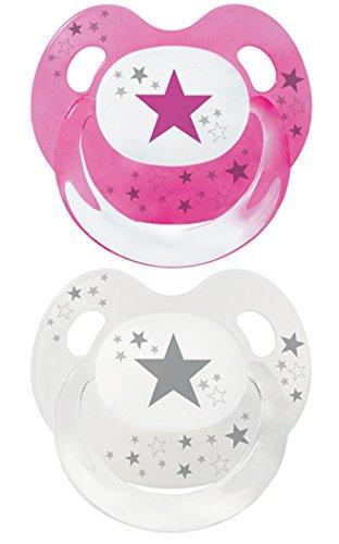 Baby Nova Dental Babysauger Beruhigungssauger Slimline Schnuller Sterne (Gr .2: von 6 bis 18 Monate, 2 Stk rosa und transparent mit grau)