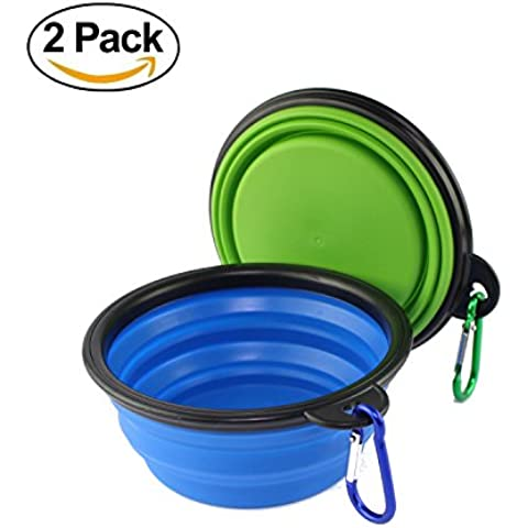 wangstar Colapsable Tazón para el perro, plato plegable extensible Alimentación Copa de silicona de grado para el perro de animal doméstico del gato, juego de 2 (azul+rojo)