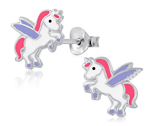 Laimons Mädchen Kinder-Ohrstecker Ohrringe Kinderschmuck Einhorn Stecker Pegasus Weiß,Lila,Pink Sterling Silber 925