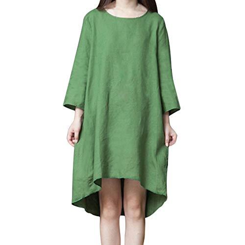 KItipeng Damen Kleid Kurze Ärmel Elegant Knielang Weihnachten Drucken Partykleid Plissiert Abendkleid Große Größen A-Linie Sommerkleider