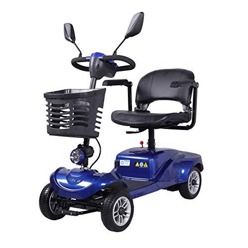 RTUIOP Elektroauto-Motorrad-Vierrad des Alten Mannes, das tragbares faltendes automatisches Vierradfahrzeug der neuen Energie des Elektroauto-Rollers faltet,Blau