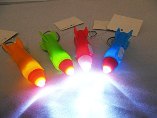 12 Schlüsselanhänger Kunststoff Rakete mit Licht | Mitgebsel Weltraum-Party | Weltall | Astronaut | Kindergeburtstag