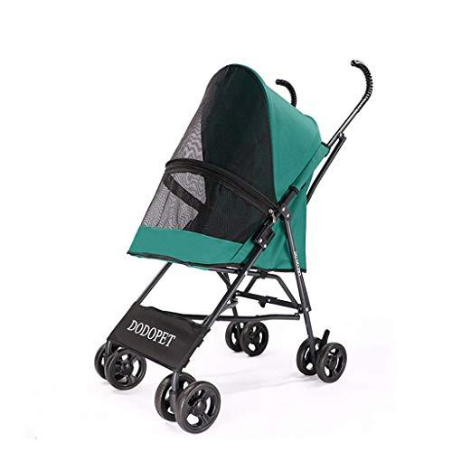 Pet 4 Wheels Travel Stroller für Hund Katze Kinderwagen Trolley Puppy Jogger Folding Carrier (Color : Green)