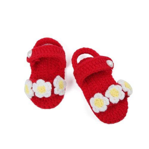 Yue Lian Baby Unisex Schuhe mit Drei Blumen Handgemachte Rutschfeste Strickschuhe Lauflernschuhe Rot