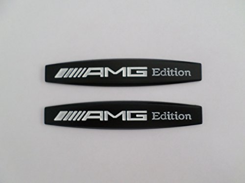 Preisvergleich Produktbild 2 Pieces Car Sticker Label for Mercedes Benz AMG Metal White Black 3d Sticker Car Sticker Emblem 10cm x 1.8cm Tm Alphamars