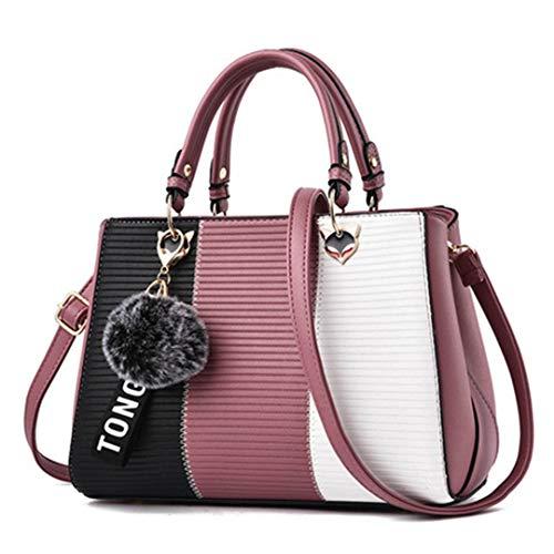 Kontrastfarbe Luxus Damen Taschen Designer Schultertasche Ledertasche Pink 28x9x20cm (Hand-taschen Unter 20 Dollar)