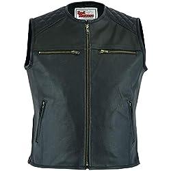 German Wear - Chaleco de piel para motocicleta, color negro