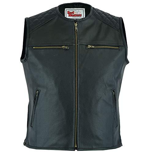 German Wear - Chaleco de piel para motocicleta, color negro negro Negro XXXXXL