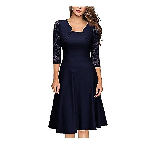 Damen Abendkleid mit angenähtem Bolero und 3/4 Ärmel, (Kostor) A-line und Empire Taille Kleider, Knielang Elegant Cocktailkleid mit Spitzen- - Dunkelblau -