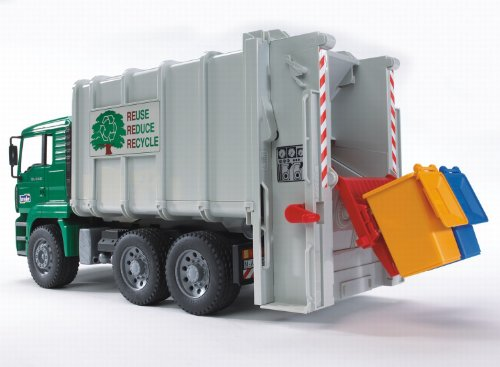 Image of Bruder Rear Loading Garbage Truck