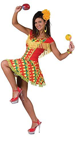 Bristol Novelty AC278 Mexikanische Dame Kleid Kostüm, Mehrfarbig, UK Size 10-14