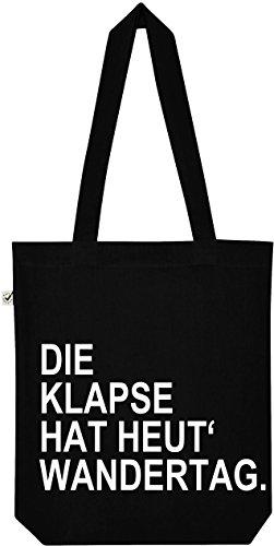 """TRVPPY Baumwollbeutel mit Spruch / Modell """"Die Klapse hat heut' Wandertag."""" / Farbe Schwarz / Jutebeutel Beutel Baumwolltasche Sportbeutel Rucksack Tasche Turnbeutel"""
