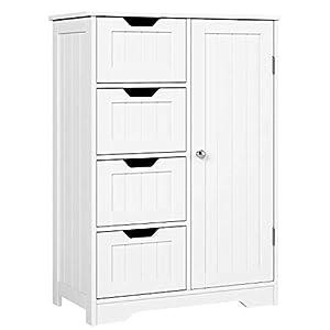 Homfa Kommode Badezimmerschrank Badschrank Schrank Anrichte verstellbare Regalebene Holz Weiß mit Schubladen Küche Flur…