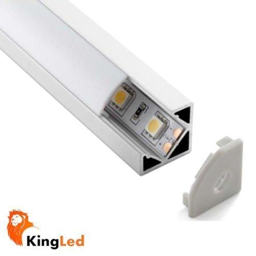 KingLed - Profilo in Alluminio da 1mt Modello 007 Barra Angolare 45 Gradi per Strisce LED con Cover Opaca in Plexiglass, Tappi e Ganci per il Montaggio cod. 1242