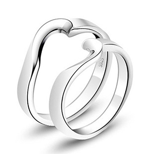 Girlz! Platinum Plated Simple Heart Soulmate Couple Rings For Men & Women