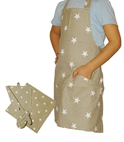 beties Sternchen Kinderkochset (4er Set) 100% Baumwolle für kleine Helfer in der Küche: Schürze, Topfhandschuh, Geschirrtuch & Mitteldecke 100% Baumwolle Farbe (Taupe)