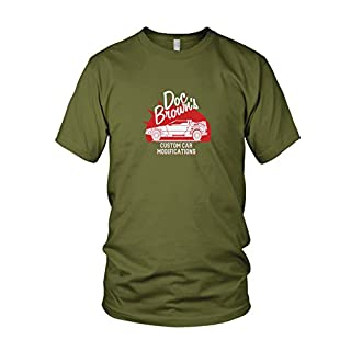 BTTF: Doc Brown's Custom Cars - Herren T-Shirt, Größe: L, Farbe: army
