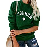 ZOUCY Women Dog Mom Tee Shirt Letter Print Sweatshirt Women's Casual Long Sleeve Letter Print Cute Graphic Sweatshirt - Green - XX-Large