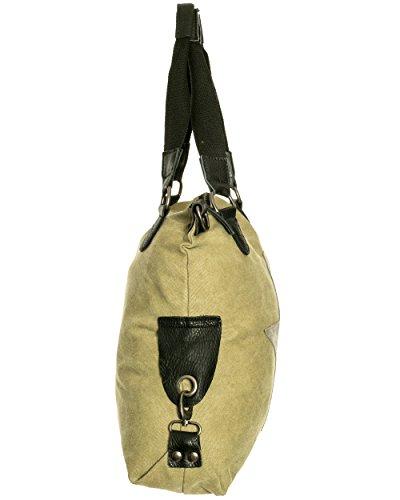 Damen Handtasche Tasche mit Stern Canvas Tasche Umhängetasche Schultertasche canvas Henkeltaschen Oliv