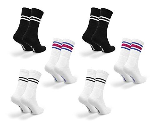 Davraz Kinder Tennis Socken 6 Paar (31-34, Schwarz, Weiß)