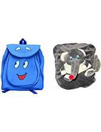 Pratham Enterprises Combo Of Blue Smile Bag And Grey Elephant Soft Toy Bag ( Pack Of 2 )