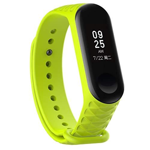 Bestow Xiao Mi Band 3 Moda Deporte de Silicona Suave Pulsera de Mu?eca Correa de Repuesto Banda Reloj Inteligente Electronics Gadgets Reloj de Pulsera(Verde)