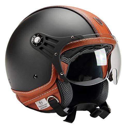 BNO 0P01-PL26 Jethelm Matt + Kunstleder, Motorradhelm, Schutzhelm Helm in der Größe S