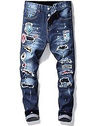 90ac2a9469 GZYD Jeans de Hombre Cintura Media Pantalones de Cono Agujero Parche  Bordado Azul Placa Algodón Ajustado Fuerza elástica Cuatro…