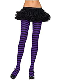 34321b47398a0 Mytoptrendz® Ladies Semi Opaque Full Foot Striped Tights Black and Purple