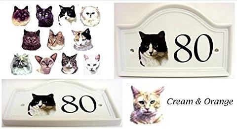 Cream & Orange Cat House Door Number Plaque Cream & Orange Tabby Cat Ceramic Number Sign Any Number Available Hand Decorated in the U.K. Free UK