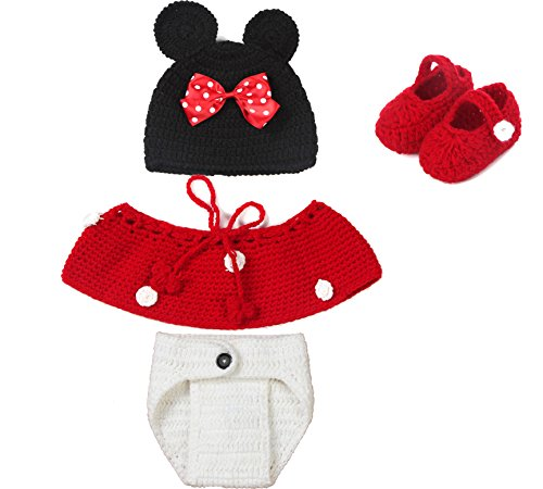 Imagen de baby häkelko stüm punto disfraz fotografía shooting fotos 4piezas mickey minnie ratón rojo alternativa