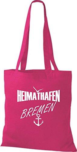 Shirtstown Stoffbeutell Heimathafen Bremen Molti Colori Fucsia