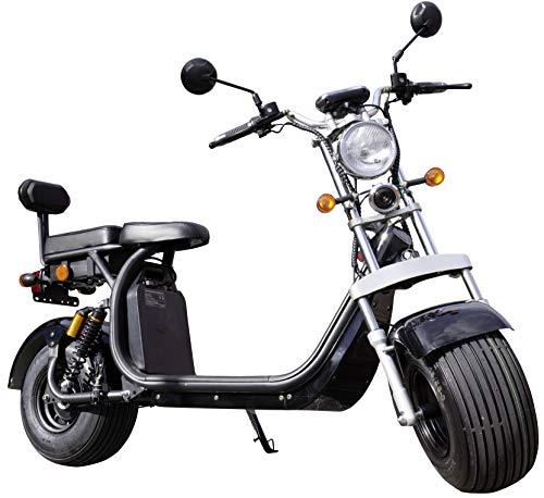 Trendyshop365 E-Scooter mit Sitz Straßenzulassung Breitreifen Elektro-Roller Lithium-Ionen-Akku (Schwarz) (1500w Elektro-roller)