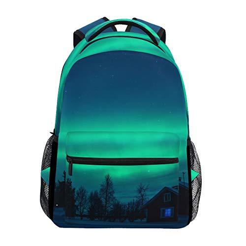 CPYang Aurora Polaris Forest Rucksäcke College-Schulranzen Freizeit Reise Tagesrucksack Wandern Camping -