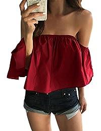LANDFOX Mujeres Verano de blusa de Top Casual Top