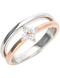 Esprit Damen-Ring Delicate blossom 925er Silber rhodiniert, 925er Silber 4 Zirkonia (silber/rosé)