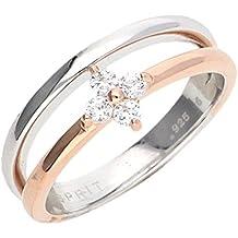 Esprit Damen Ring Silber Bicolor Zirkonia Delicate Blossom ESRG92501A1