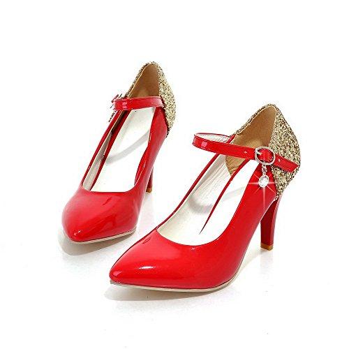 AllhqFashion Femme Boucle à Talon Haut Pu Cuir Couleurs Mélangées Pointu Chaussures Légeres Rouge